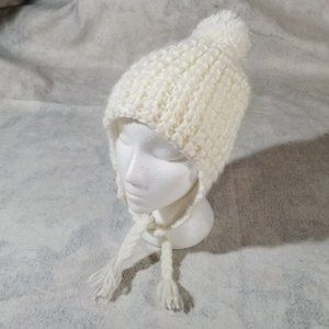 Joe Fresh Cream Knit Pom Pom Beanie + Tassels
